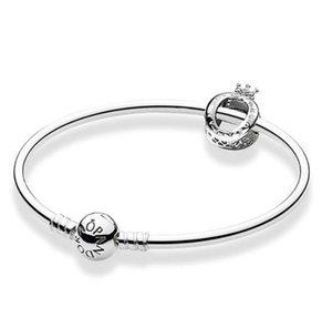 NUEVO Auténtico 925 encantos de la plata esterlina pulsera cabida los granos europeos Pandora joyería del brazalete de la pulsera de plata real de la Mujer