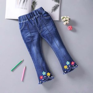 Girls Jeans Flared Pants 2020 New Little Girl Western Style Pants Spring And Autumn 3-7-Year-Old Baby Girls Pants
