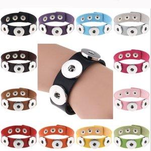 Noosa Bocconcini Snap Bracelet Charms 18 millimetri di metallo di cuoio del tasto braccialetti del braccialetto Ginger Snap Button Dichiarazione regali gioielli per gli uomini donne Ragazze