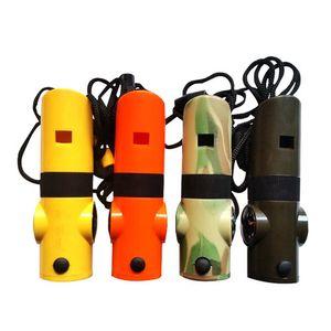 Açık Survival Düdük SOS Islık Termometre Düdük 7 1 ıslık içinde Pusula Fonksiyonlu Doğa Sporları Survival Whistle ile