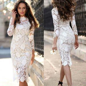 White Dress Lace Bodycon Dress Summer 2020 Women Long Sleeve Midi Pencil Dresses