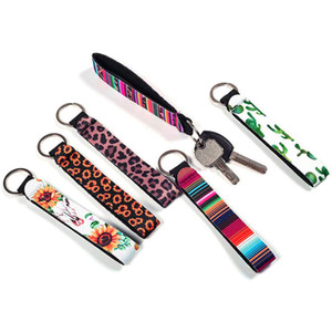 New Wristband Keychains Floral Printed Key Chain Neoprene Key Ring Wristlet Keychain Party Favor 20 Designs Wholesale Free Shipping