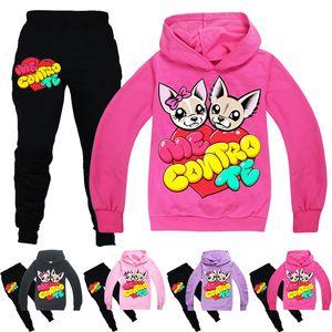 ME CONTRO TE Clothing Sets Spring and Autumn 6-14t Kids Hoodies + Pants 2 Piece Sets 120-160cm kids designer clothes girls Wholesale BSS386