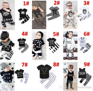 30 Style Baby INS fox stripe lettera Si adatta ai bambini Toddler Infant Casual Breve manica lunga T-shirt + pantaloni 2pcs set pigiama neonato BY0701