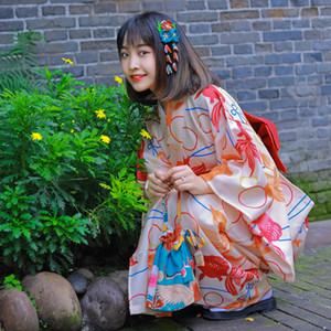 manija de cereza belleza japonesa kimono de las mujeres formales peces de colores rojo modificada versión estándar ropa tradicional kimono muchacha de Japón
