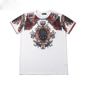 High quality fashion designer short T-shirt European style men's round neck T-shirt 100% cotton short-sleeved men's clothes