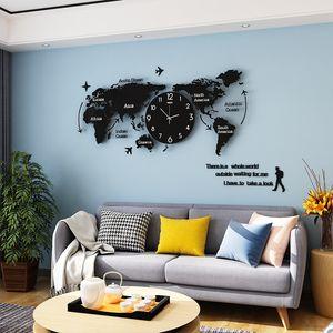 MEISD luminoso grande reloj de pared moderno del diseño del arte del mapa del mundo del espejo etiqueta engomada 3D colgantes de acrílico del reloj Reloj Home Living Room Decor