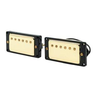 2 Stück Neck Bridge E-Gitarren-Pickups Alnico V Goldene mit gebogenem Rahmen