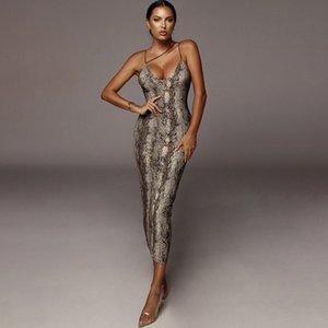 Rivestite sexy abiti delle signore di estate Serpentine aderente Abiti leopardo della cinghia di spaghetti Womens Party Magro Moda vestiti dal fodero femminili