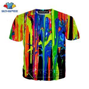 Anime 3d print casual Rainbow Paint t shirt streetwear men Colorful Women fashion t-shirt Harajuku kids shirts homme tshirt A158