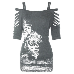 Camicia da donna spalla spalla roccia camicia gotica casual strappato camicetta a slipping top vintage stampato manica