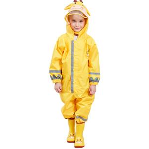 Kocotree Kinder Gelb Giraffe Regenmantel Kinder Overall Regenbekleidung Regenschutz Für Jungen Mädchen Wasserdichte Kleidung Sets Kinder Y190518