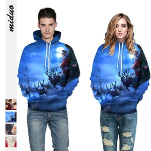 Tide Brand Luxury Designer Men Hot Selling Santa Claus Digital Printing Hooded Couples Sweater Autumn and Winter Loose Long-Sleeved Womens B