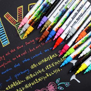 18 renkler 0.7 mm Akrilik boya Işaretleyici kalem Için Seramik Kaya cam porselen kupa ahşap kumaş tuval boyama