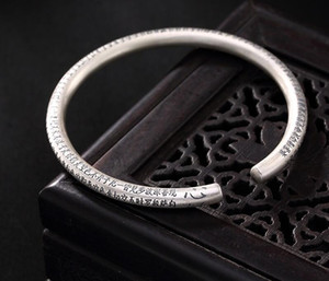 2020 S999 Sterling silver Prajna Paramita Heart Sutra pure silver bracelet retro opening Tibetan Buddhist Bracelet