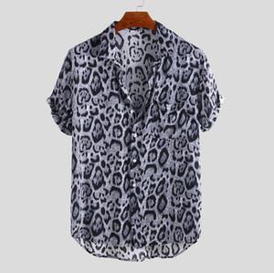 캐주얼 스타일 남성 디자이너 셔츠 패션 레오파드 프린트 느슨한 짧은 소매 옷 깃 넥 셔츠 여름 남성 셔츠