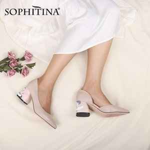 SOPHITINA Womens High Heels Sexy Pointed Toe Sheepskin Flower Printed Square Heeled Shallow Shoes 2020 Ladies Wedding Pumps C172 Y200702