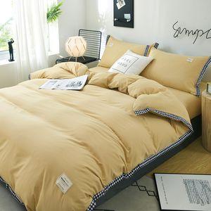 Light yellow bedding set soft polyester duvet cover set 4pcs set home bed linen bedclothes Adult flat sheet pillowcase