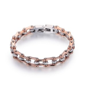 High Quality Motorcycle Chain Bracelet For Women IP Rose Gold Crystal 316L Stainless Steel Bike Chain Bracelet 10mm