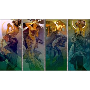 Modern art Moon and Stars Alphonse Mucha figure Oil painting Romantic woman picture for living room decor