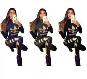 Mujeres camiseta Otoño Invierno chándal Set de 2 unidades Tops juego + pantalones deportivos Trajes la manga larga de la camisa del collar del soporte + de las polainas Carta Ropa 2156