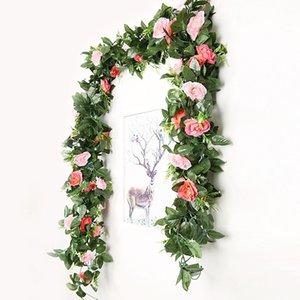 وهمية روز كرمة الزهور النباتات الاصطناعي زهرة جارلاند شنقا فندق مكتب المنزل حفل زفاف حديقة حرفة الفن ديكور دعم بالجملة
