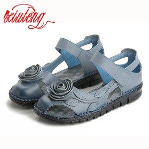 Xiuteng Marke Frau Handgefertigte florale echtes Leder-Sandelholz-Frauen-Ebene für Frauen Wohnung mit Slipper Damen-Sommer-Schuhe 3 Farben