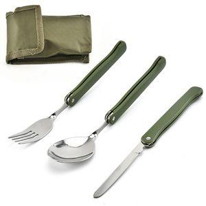 Compacto plegable Cubiertos Utensilios de cocina 3pcs recorrido que acampa al aire libre Senderismo vajilla conjunto de picnic portátil de bolsillo Vajilla DDA11
