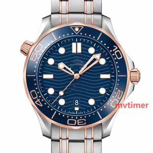Kauçuk Kayış Rose Gold Tasarımcı İzle Paslanmaz Çelik Erkekler Otomatik Lüks Erkek kol saati Profesyonel Dalgıç 300M Usta NATO Saatler