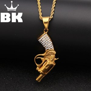 Gold Tone Stainless Steel An Inverted Bending Tail Gun Pendant Necklace Necklace Free 3mm 24inch Cuban Chain