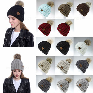 14styles Girls Knit Cap Kid Crochet Pom Pom Beanies Hat Fur Ball Hats Knit Outdoor sport Caps knitted girls Accessories FFA2949-2