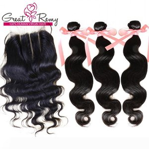"Brazilian Malaysian Peruvian Indian Hair Bundles with Closure Body Wave 1PC 3 Part Top Lace Closure 4""x4"" With 3PCS Hair Weft Exte"