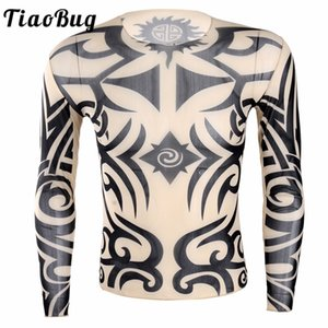 Tops & Tees T-Shirts TiaoBug Soft O-Neck See Through Long Sleeve Fake Tattoo Design Elastic Sexy Men T-Shirt Male Fancy Party Costume