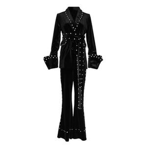 PERHAPS U женщин шаль воротник бархатный пиджак створки брюки костюм из двух частей комплект алмаз T0110