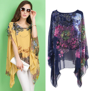Chiffon floreale Loose Women Stampa caftano Poncho camicetta Beach Tops Sunwear