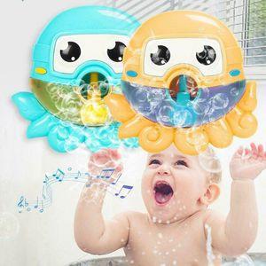 2019 Baño de espuma caliente bebé de juguete Bubble Maker WhaleOctopus de natación Bañera de jabón Juguetes Máquina para niños con agua de juguete de la música
