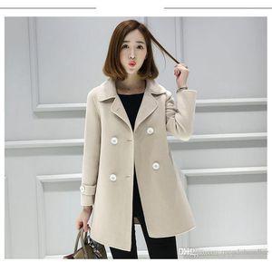 La prendas de vestir chaquetas de los nuevos doble de pecho de la solapa de las mujeres del cuello abrigos de invierno de las señoras del color sólido de la manera de lujo ocasional Ropa del diseñador para mujer