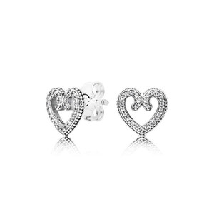 여자의 정통 925 실버 러브 하트 스터드 귀걸이 판도라 CZ 다이아몬드 웨딩 보석 귀걸이 원래 상자 세트