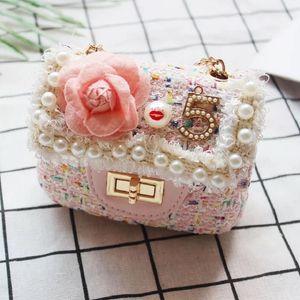 Fashion Girl's Flower Pearl Crossbody Messenger Bag Mini Children Flap Princess Shoulder Bag Cute Small Kids Handbag
