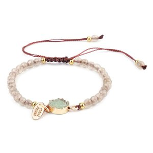 Fashion Bracelet Handmade Colors Natural Stone Simple Charm Bracelet 4MM Bead Bracelet with Stone Pendant Jewelry women