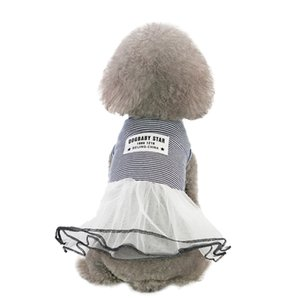 Pet Köpek dibe Çizgili Baskı Elbise Giyim Kedi Dantel Nefes Elbise Bulldog Giyim Köpekler Evcil Giyim Falda de mascota419