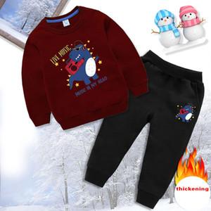 ispessimento autunno e l'inverno nuovi bambini vestito dei ragazzi peluche e riscaldano due set di dinosauro bambini dei vestiti del bambino abbigliamento bambini