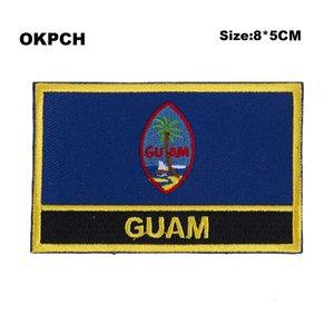 GUAM Rechteckige Form Flag Patches Flagge Aufnäher Aufnäher Nationalflagge für Kleidung DIY Dekoration PT0256-R gestickt