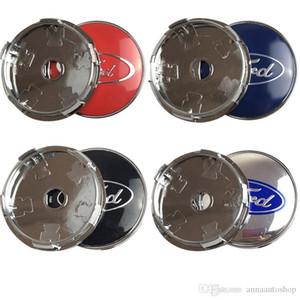 Marca New 4pcs / lot Azul 60 milímetros Hubcaps Capa para Cap de rodas Centro de Ford para o Ford Fusion Foco 3 Fiesta ST Mondeo MK2 MK4 Rangers Kuga Mustang