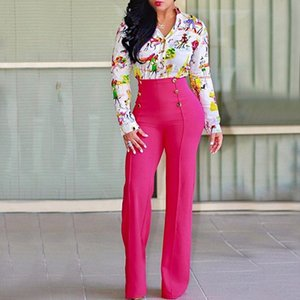 Office Lady Decorative Button Versatile Slim Straight Trousers Casual Summer Palazzo High Waist Career Wide Leg Trousers