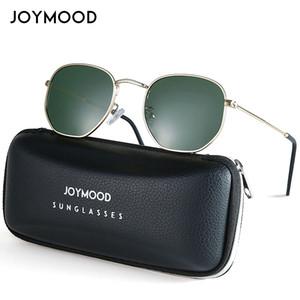 JOYMOOD Classic Reflective Retro Sunglasses Men Hexagon Sun Glasses For Women Fashion Metal Frame Polarized Sunglass Men