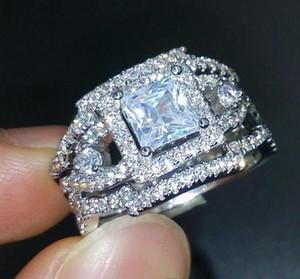 Fine New Vintage Профессиональные ювелирные изделия принцесса вырезать 925 стерлингового серебра заполнены белый сапфир Имитация Алмазный 3 IN 1Wedding Обручальное B