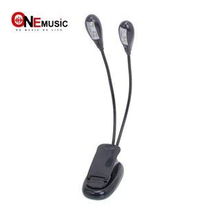 Stand 4 LEDS zwei Head Music Light Book-Licht USB-Dual-Arm-4 LED flexibles Buch-Musik-Standplatz-Licht-Lampe