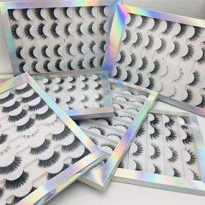 Kadınlar Güzellik için 2020 Yeni 3D Sahte Vizon Doğal Yanlış Eyelashes 16Pairs Uzun Vizon Kirpikleri Hacmi Kalın Takma Kirpikler Kabarık Sihirli Sahte Kirpikler