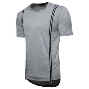 Été Designer Zipper T-shirts des hommes de mode T-shirts solides Tops Casual Male vrac